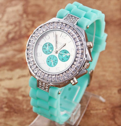 Wholesale Double Diamond Geneva Watches - 14 Colors Double Diamond Crystal Geneva rhinestones watch fashion ladies silicone quartz watches hot sale cool watch