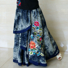 Womens Winter jeans online shopping - 2017 Autumn Winter Cotton High Waist Vintage Casual female Jeans Denim Blue Embroidered Novelty Female Asymmetry Long Maxi Skirts for Womens