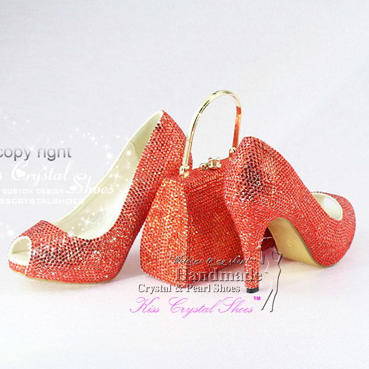 Low Heel Wedding Shoes Red Crystal Bridal Shoes Red Dress Shoes ...