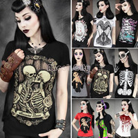 Wholesale Restyle Shirt - 15 types!! 2014 hot sales women skeletons skulls restyle fashion digital printed Short-sleeve T-shirt tees tops b9 SV001176
