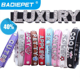 Wholesale Product Names - 40% off Special Offer!Best Selling Top Quality Pu Leather Personalized DIY Name Dog Pet Collar Pet Product (Price exclude sliders)
