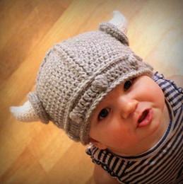 Wholesale Kids Knit Viking Hats - 5Pcs Newborn Baby Cute Handmade Crochet Lael Viking Hat Children Knit Hat Photography props Kids Xmas Party Ox horn Wool Cap