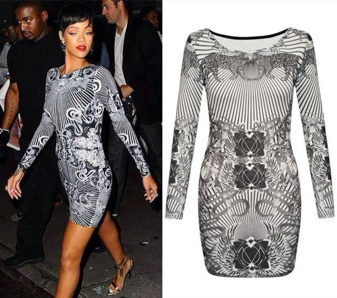 Sexy Celeb Rihanna Bodycon Dress Grey Leopard Print Long Sleeve O-neck  Bandage Hot Sale a57dfd4c2