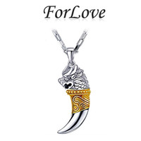 Wholesale Pendant Dragon Silver 925 - ForLove Two Gifts Real Sterling Silver dragon wolf tooth Necklaces & Pendants Genuine 925 with Chain for men jewelry 2014 new x435