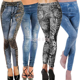 Look Sexy Jean Pas Cher-New 2014 Mode Femmes Denim Look Ripped Faux Jean Sexy maigre jambières Jeggings B16 SV001374