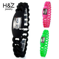 Wholesale Gel Led Watches - Wholesale-Electronic 2014 new digital Silicone sports watch for girls students Fashion jelly gel quartz Led outdoor wristwatches wholesale