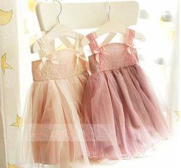 Wholesale Girls Vest Dresses Autumn - Vintage Baby Girls Kids Summer Dresses Suspender Lace Tiered Veil Ball Gown Dress Adorable Ballet Vest Tutu Dress Pretty Party Dress 8536