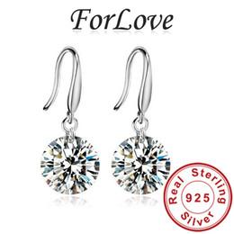 Wholesale Wholesale Cz Earings - 2016 wholesale Sterling Silver 925 CZ Diamond Zircon drop dangle Earring Earings Brinco fashion women wedding jewelry E407