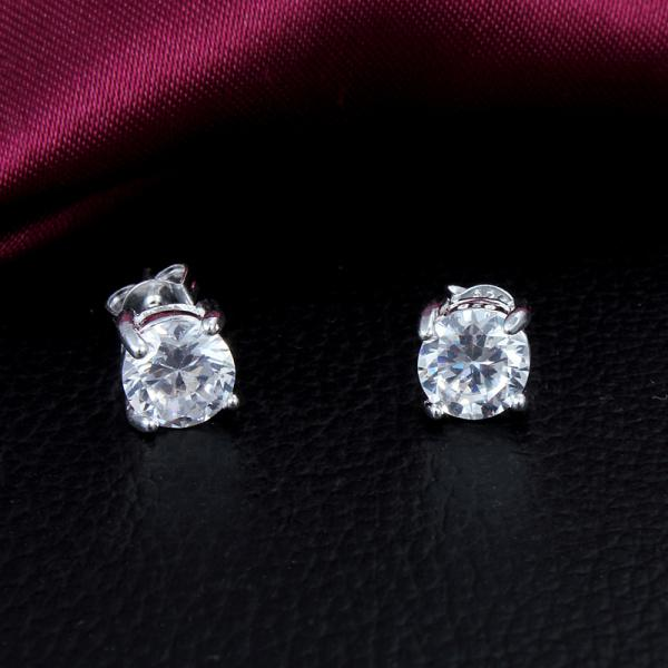 2014 새로운 디자인 최고 품질의 925 스털링 실버 스위스 CZ 다이아몬드 스터드 귀걸이 패션 보석 무료 결혼 선물