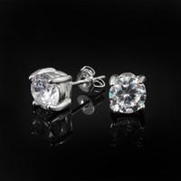 i̇sviçre elmas saplama toptan satış-2014 Yeni Tasarım En kaliteli 925 ayar gümüş İsviçre CZ elmas saplama küpe moda takı ücretsiz kargo düğün hediyeleri