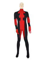 Wholesale Mens Super Costumes - Custom Red Mens Deadpool Costume Halloween Cosplay Party Zentai Deadpool Suit
