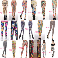 Wholesale Graffiti Sexy Girl - Fashion Sexy Women Leggings Patterned Tights Girl Graffiti Leggings Patterned A Variety of Styles Mixed
