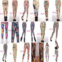 leggings menina graffiti venda por atacado-Moda Sexy Mulheres Leggings Patterned Calças Justas Menina Graffiti Leggings Padronizado Uma Variedade De Estilos Mistos