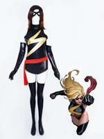 ingrosso zentai costumi supereroi lucido-Marvel Comics Ms. Marvel Shiny Metallic Superhero Costume Halloween Cosplay Party Zentai Suit
