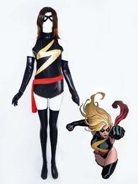 Shiny Cosplay Suit UK - Marvel Comics Ms. Marvel Shiny Metallic Superhero Costume Halloween Cosplay Party Zentai Suit