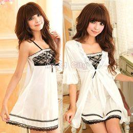 Wholesale Woman Dresses Twinset - Drop Shipping Sexy Women Twinset Lace Pajama Strap Sleep Night Dress Robe Nightwear Sleepwear Set plus sixe b014 10901