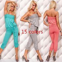 Wholesale Strapless Lingerie Tops - 874 2015 spring summer women new fashion 15 color sexy lingerie jumpsuit lady's dress strapless tube top sleepwear homewear cotton drop shop