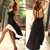 Wholesale Swallow Tail Hem - Promotion 2014 Women Lady Deep U Neck Bare Back Backless Dress Hem Tank Swallow Tail Sleeveless Summer Long Dress #12 8020