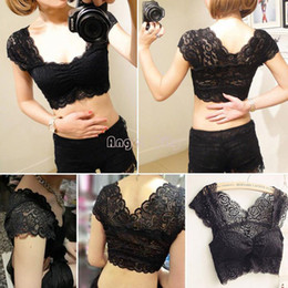 Wholesale Tops Built Bras - 2014 Summer Sexy Women Lace Crop Top Camisole Pad Hollow-out Soft Vest Bra for Women Built in Bra bustier Crop Tops b8 SV003767