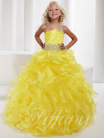 Pretty Yellow Purple One- Shoulder Beads Sugar Girls Pageant ...