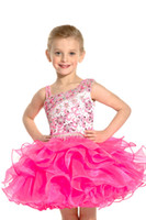 Sweet Blue Pink Organza Beads Short Sugar Girls Pageant Dres...