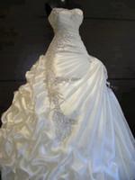 Wholesale Sexy Strapless Beaded Appliques Dress - 2017 free shipping A Line Strapless Sleeveless wedding dress vestidos de noiva with Ruffles beaded Pleats