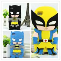 Wholesale 3d Venom Iphone Case - 3D Cartoon Venom Ironman Captain America Spider Superman Bat Man Batgirl Superhero Comics Rubber Case For iPhone 4 4S 5 5S Free Shipping