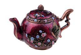 Wholesale Keepsake Jewelry Boxes - Free shipping Purple Teapot with Butterfly trinket box hinged keepsake box wholesale