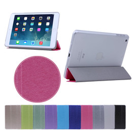 Wholesale matte white screen - Wholesales 3 Fold Silk Print Smart Case Cover + white Back Case With Sleep Wake Up matte For ipad air 5 ipad mini2, free shipping