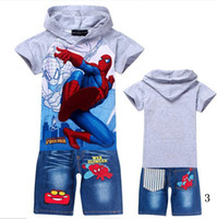 Wholesale Wholesale Spiderman Cartoon Jeans - Wholesale - children clothing sets boys short sleeve hoodies+jeans pants boy cartoon Spiderman Children outfits suits 6sets lot