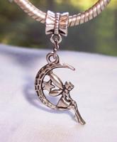 Wholesale Hot pc or pc Antique silver Fairy Crescent Moon Celestial Dangle Bead Fit Silver European Charm Bracelets x mm