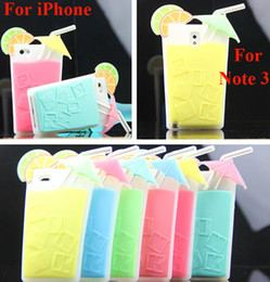 Wholesale Case Iphone Drink - Pink Summer Drink 3D Cocktail Cup Lemon Beverage Silicone Case For iPhone 5 5S 4 4S Samsung Galaxy Note3 Note 3 Mix