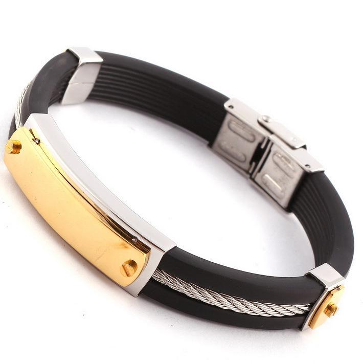 2018 mens black silicone bracelets 14k gold plated