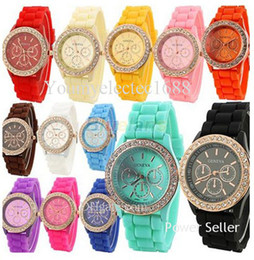 Wholesale Kids Watches Geneva - 2015 Fashion Shadow Geneva Watch Crystal Diamond Jelly Rubber Silicone sport Watch Quartz Mens Watches Automatic Luxury Women Casual kids