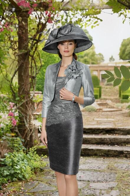 Short Mother Of The Bride Dresses Silver And Gray Women Formal Wedding Party Gowns With 3 4 Long