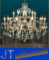 Wholesale 12 Candle Light - Free Shipping European LED Candle Crystal Chandelier K9 Crystal Chandelier 6 8 12 15 Heads Living Diining Room Luxury Light Pendant HSA015