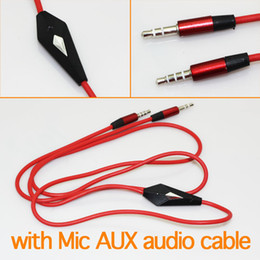 Wholesale Iphone Cables Fedex - Audio cable 120cm with Mic Red AUX Car Extention Cable For cellphone MP3 MP4 iphone free shipping Fedex 500pcs