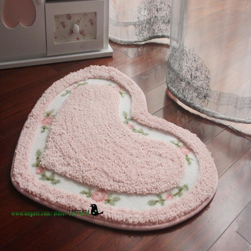 Rose Floral Soft Ultrafine Floor Mats Heart Shape And Oval