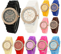 Wholesale Military Royale Watches - 15 color Geneva fashion candy color Silicone Quartz watch rhinestone Men Women Girl dress Jelly Wrist Watches