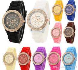 Wholesale Jelly Rhinestone Watch Wholesale - 15 color Geneva fashion candy color Silicone Quartz watch rhinestone Men Women Girl dress Jelly Wrist Watches
