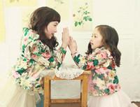 Wholesale Korean Kids Jacket Wholesale - Hot sell korean children floral outwear girls cotton floral printing hooded princess outwear kids falbala fly sleeve Zipper jacket A4130