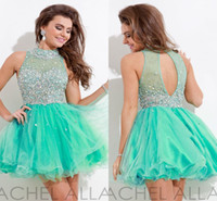 Wholesale Short Tulle Bead Homecoming Dress - High Neck MiNi homecoming dresses short A-Line Backless Beads Crystal Body Light Green Tulle Prom dresses Cocktail Dresses zahy626