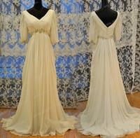 Wholesale Empire Waist Cap - Fast Shipping A Line Wedding Dresses vestidoos de noiva Empire Waist Chiffon Half Sleeves Real Photos