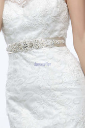 Wholesale Beaded Bow Accessory - 2014 Promotion High Quality Handmade Shiny Handmade Satin Crystals Beaded Removable Tie Back Wedding Sash Wedding Belt Wedding Accessories