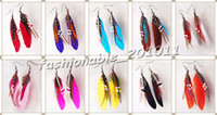 Wholesale Mix Dangling Feather Earring - 100 Pairs Feather Earring fashion earrings with beads mix colors