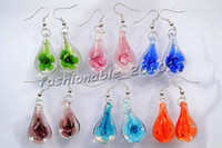 Wholesale Earring Murano - Lots Colorful Murano Glass Flower inside 3D Earring fashion Silver p Earrings