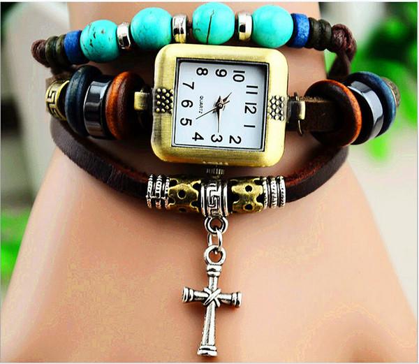 직조 팔찌 시계 여성 쿼츠 손목 시계 펜던트 크로스 플라워 올빼미 트로이 믹스 디자인 100pcs DHL 무료 드롭 배송