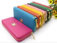 Wholesale Colored Clutches - 2014 New fashion ladies long section Soft PU leather colored zipper pocket wallets women Multi-card bits clutch wallet free shipping