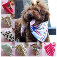 Wholesale Cotton Cat Collar - Brand New Adjustable Cotton Dog Cat Collar Bandana Scarf Fashion Pet Collar Hot Sell 156 Colors Mix Order 40PCS LOT (2.5*1.7*1.7)''