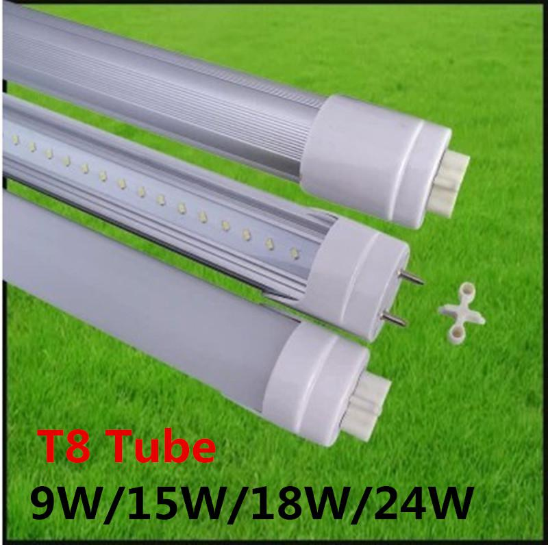 T8 LED Tube Light Fluorescent Replacement 2ft 3ft 4ft 5ft 60cm 90cm 120cm 150cm High Power 9W/15W/18W/24W Energy Saving Led Lights 85-265V